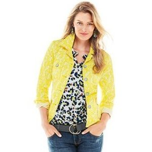 Cabi Yellow Daisy Floral Field Button Jacket #5160
